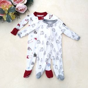 Bundle of two Burt's Bees Baby footie pajamas
